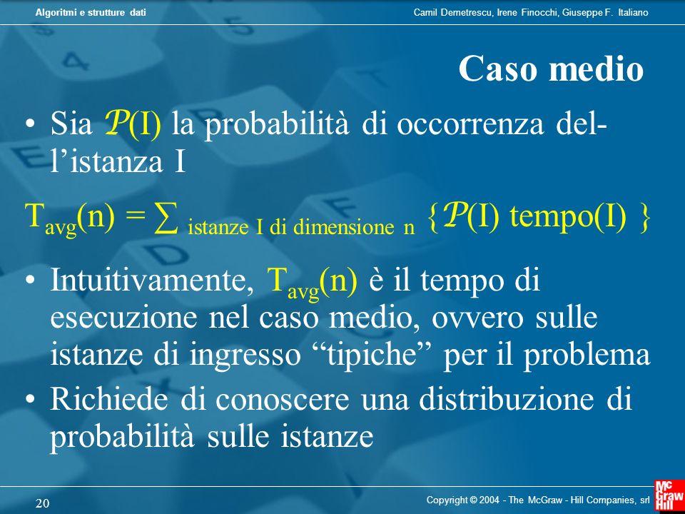 Caso medio Sia P(I) la probabilità di occorrenza del- l'istanza I
