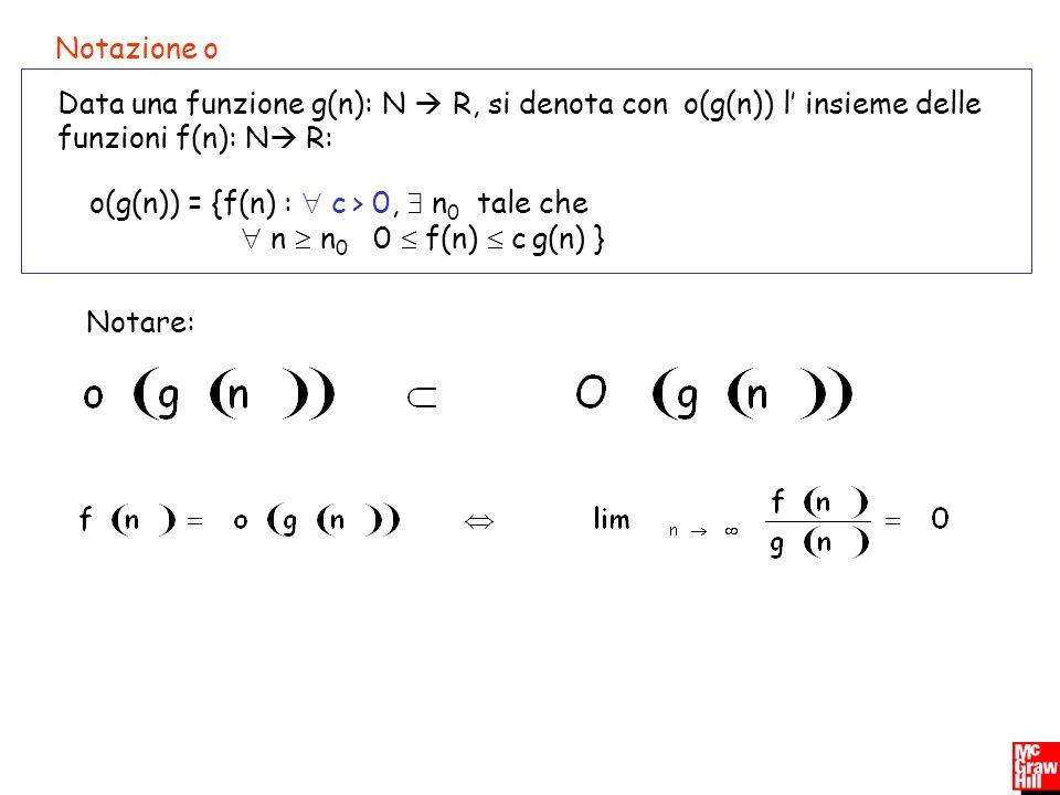 o(g(n)) = {f(n) :  c > 0,  n0 tale che