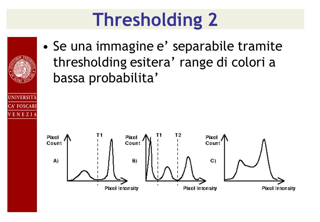 Thresholding 2 Se una immagine e' separabile tramite thresholding esitera' range di colori a bassa probabilita'