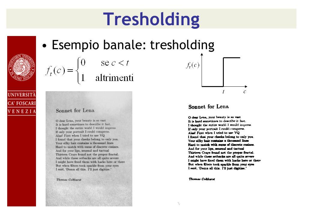 Tresholding Esempio banale: tresholding