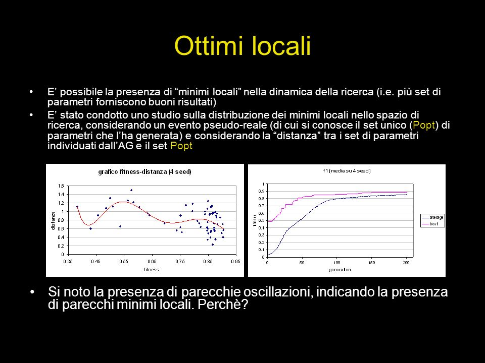 Ottimi locali E' possibile la presenza di minimi locali nella dinamica della ricerca (i.e. più set di parametri forniscono buoni risultati)