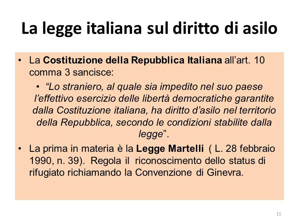 La legge italiana sul diritto di asilo