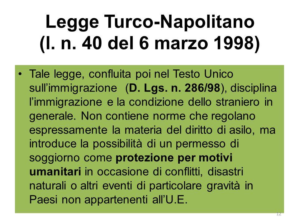 Legge Turco-Napolitano (l. n. 40 del 6 marzo 1998)