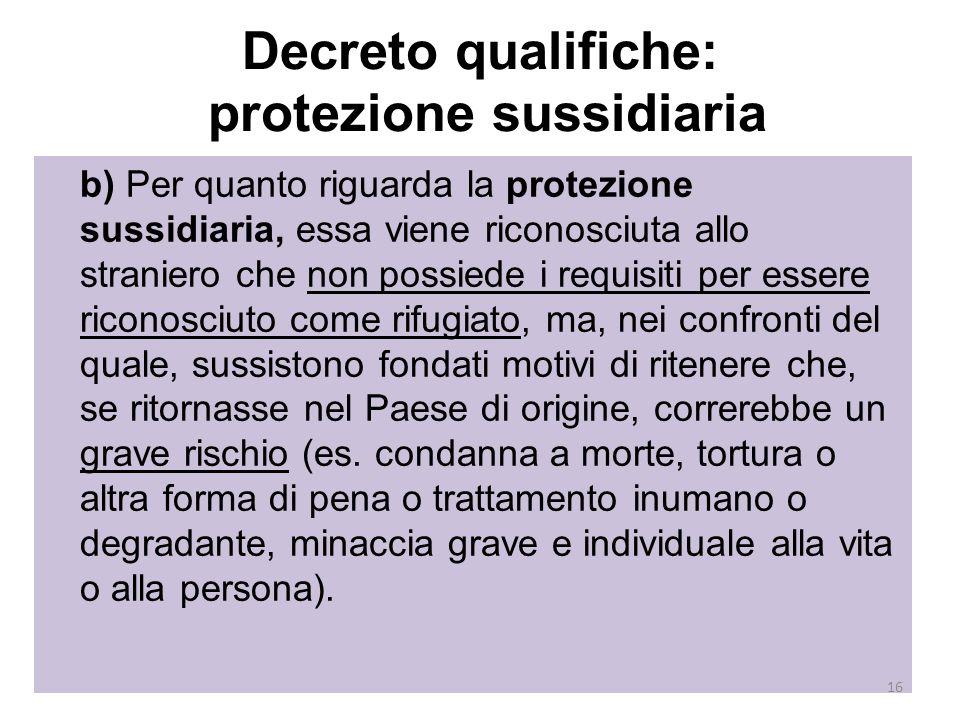 Decreto qualifiche: protezione sussidiaria