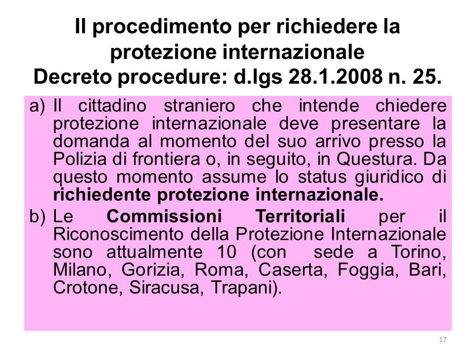 Il procedimento per richiedere la protezione internazionale Decreto procedure: d.lgs 28.1.2008 n. 25.