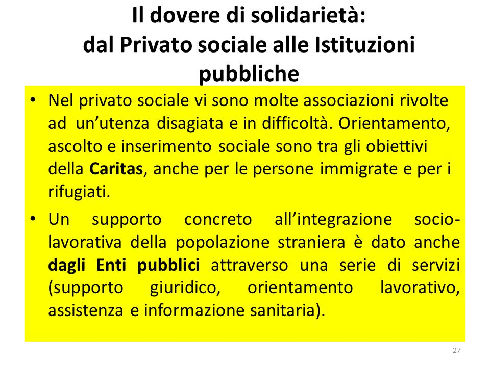 Il dovere di solidarietà: dal Privato sociale alle Istituzioni pubbliche