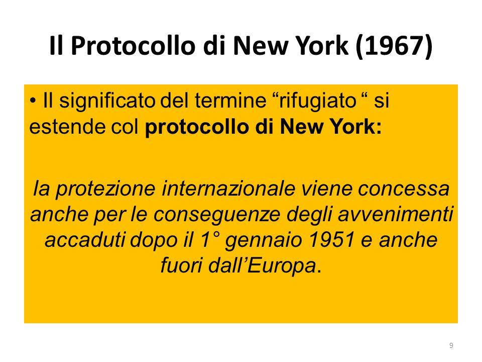 Il Protocollo di New York (1967)