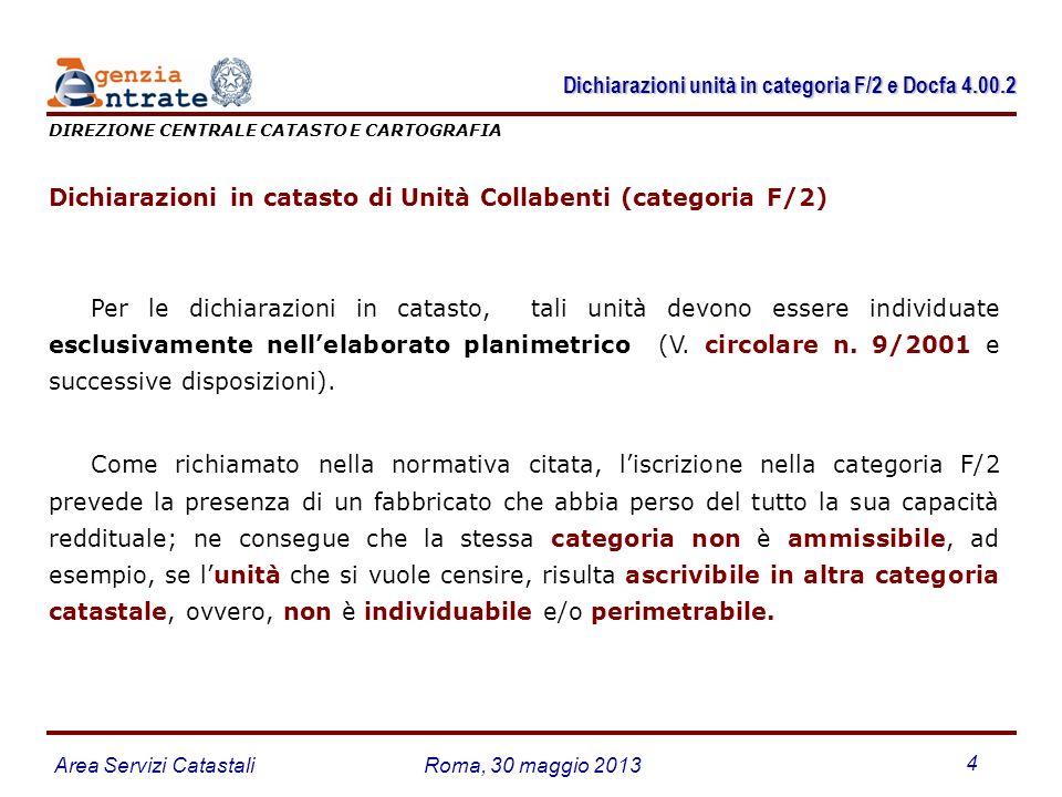 Dichiarazioni unità in categoria F/2 e Docfa 4.00.2