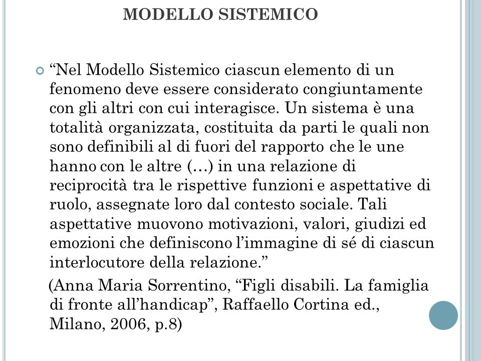 MODELLO SISTEMICO