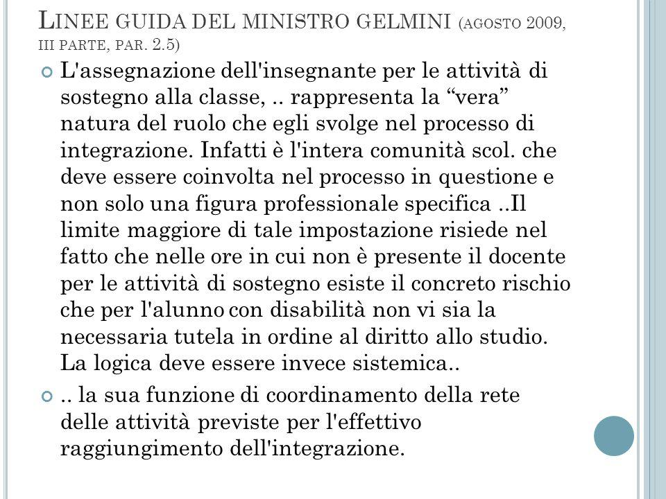 Linee guida del ministro gelmini (agosto 2009, iii parte, par. 2.5)