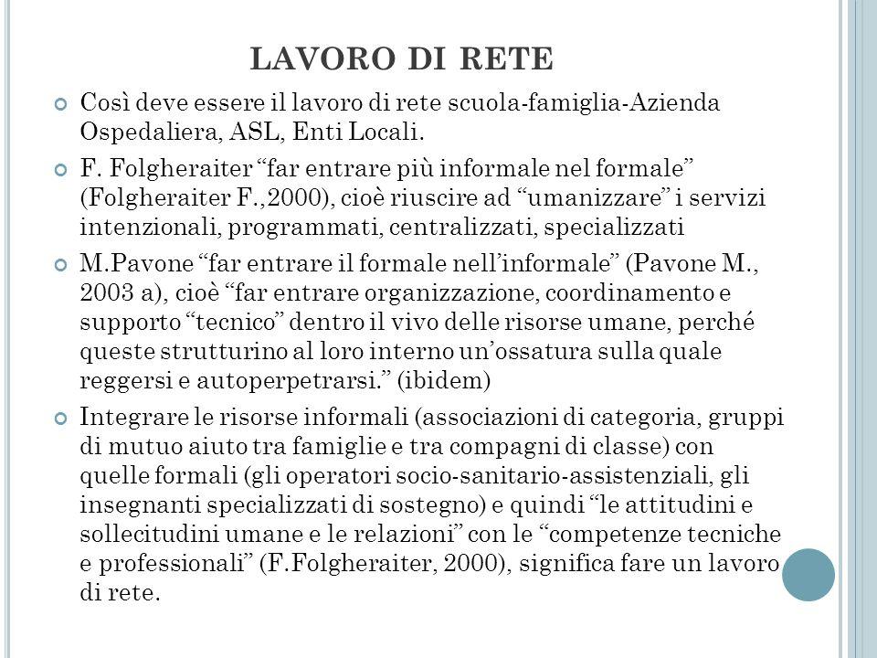 lavoro di reteCosì deve essere il lavoro di rete scuola-famiglia-Azienda Ospedaliera, ASL, Enti Locali.