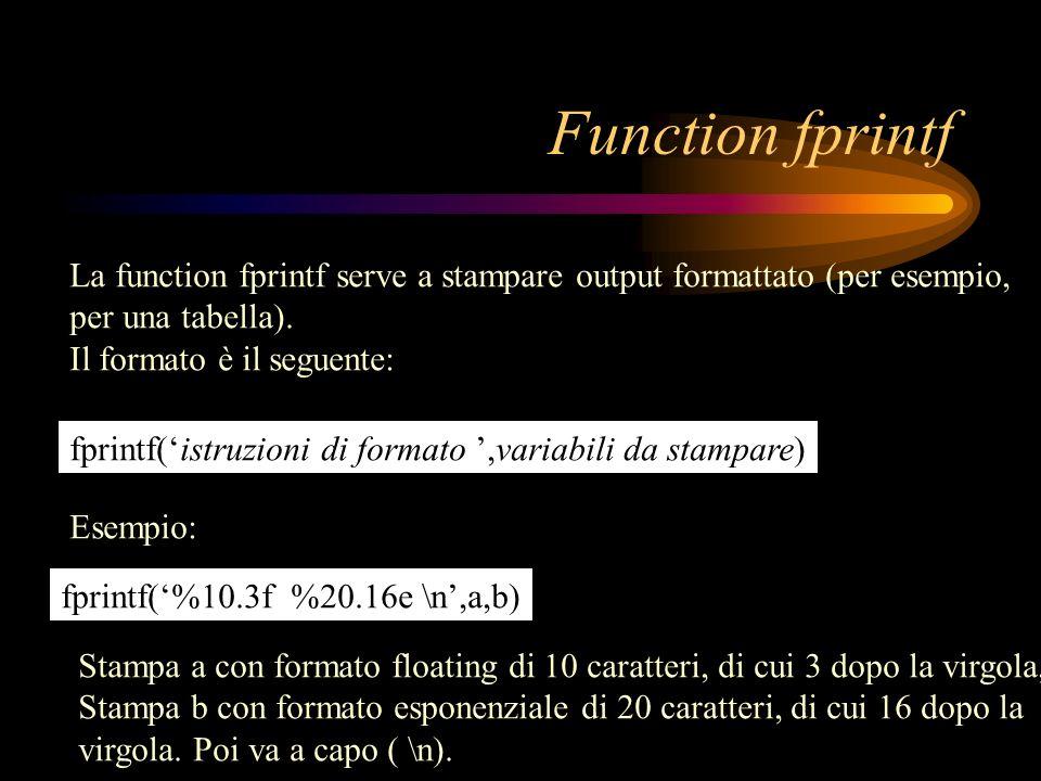 Function fprintf La function fprintf serve a stampare output formattato (per esempio, per una tabella).