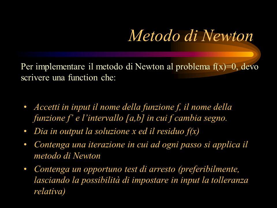Metodo di Newton Per implementare il metodo di Newton al problema f(x)=0, devo. scrivere una function che: