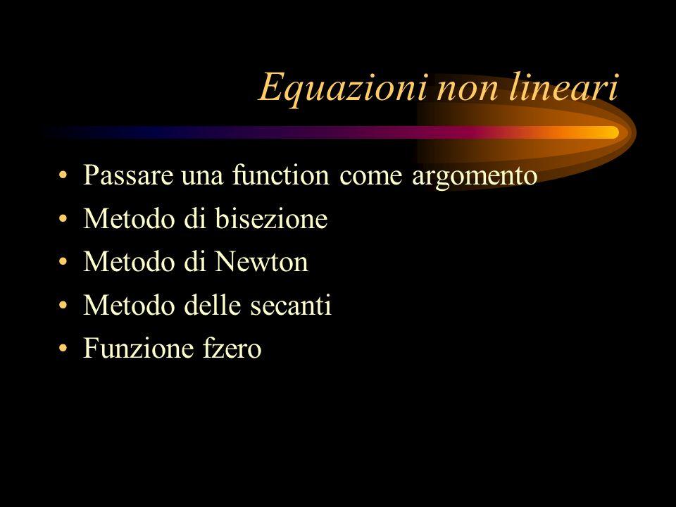 Equazioni non lineari Passare una function come argomento
