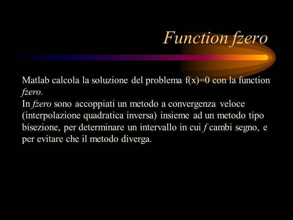 Function fzero Matlab calcola la soluzione del problema f(x)=0 con la function fzero.