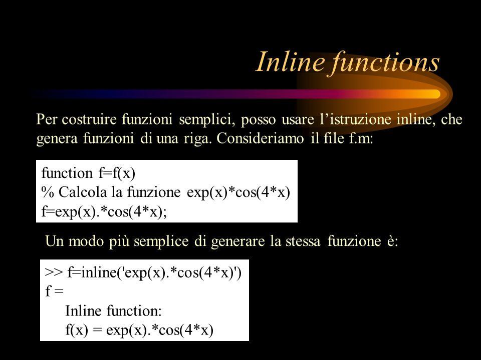 Inline functionsPer costruire funzioni semplici, posso usare l'istruzione inline, che genera funzioni di una riga. Consideriamo il file f.m: