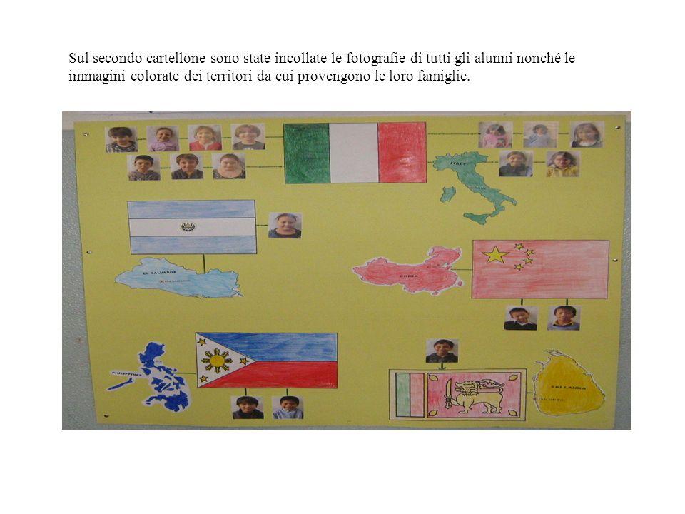 Sul secondo cartellone sono state incollate le fotografie di tutti gli alunni nonché le immagini colorate dei territori da cui provengono le loro famiglie.