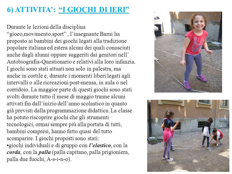 6) ATTIVITA': I GIOCHI DI IERI