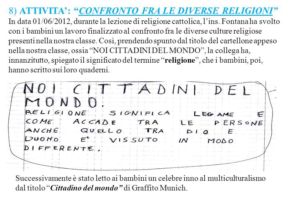 8) ATTIVITA': CONFRONTO FRA LE DIVERSE RELIGIONI