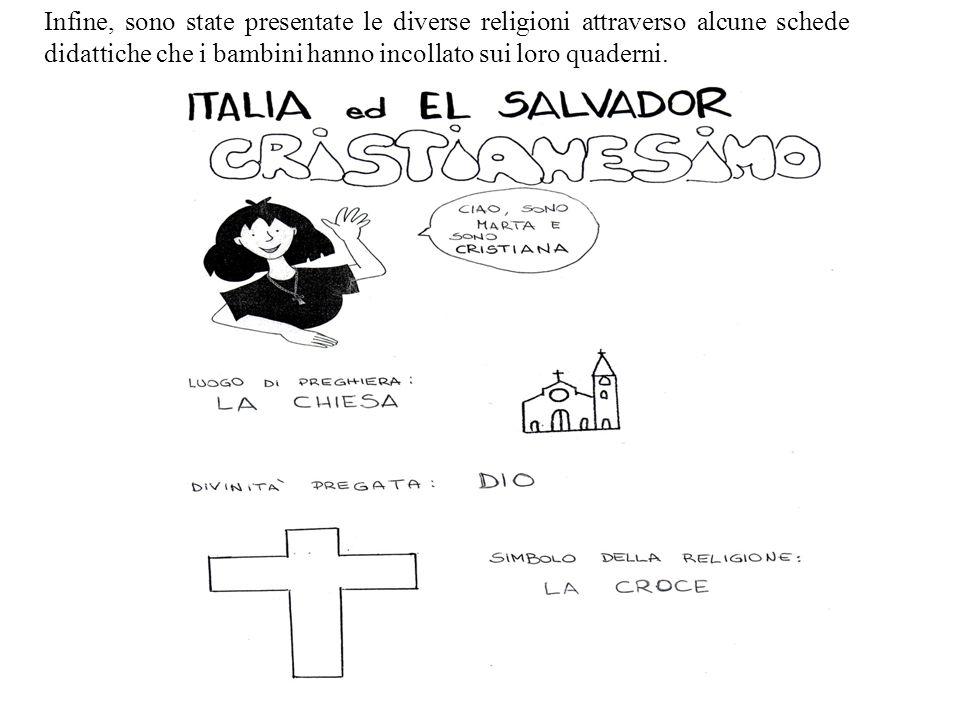 Infine, sono state presentate le diverse religioni attraverso alcune schede didattiche che i bambini hanno incollato sui loro quaderni.