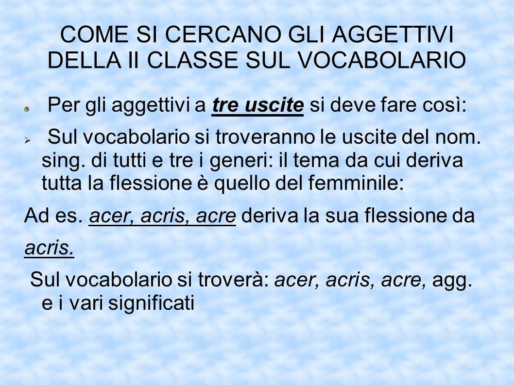 COME SI CERCANO GLI AGGETTIVI DELLA II CLASSE SUL VOCABOLARIO