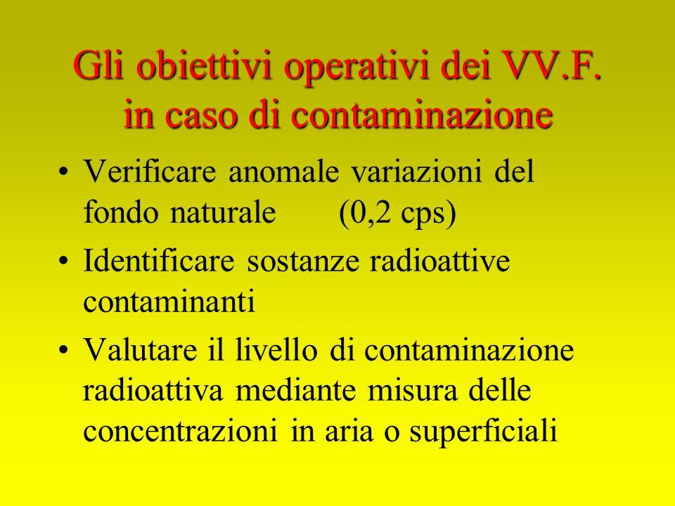 Gli obiettivi operativi dei VV.F. in caso di contaminazione