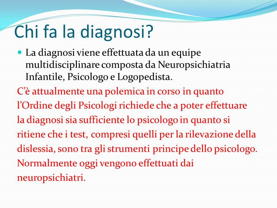 Chi fa la diagnosi La diagnosi viene effettuata da un equipe multidisciplinare composta da Neuropsichiatria Infantile, Psicologo e Logopedista.