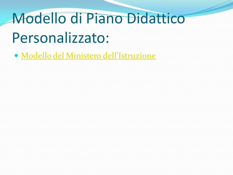 Modello di Piano Didattico Personalizzato: