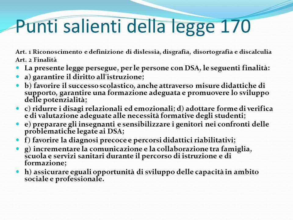 Punti salienti della legge 170