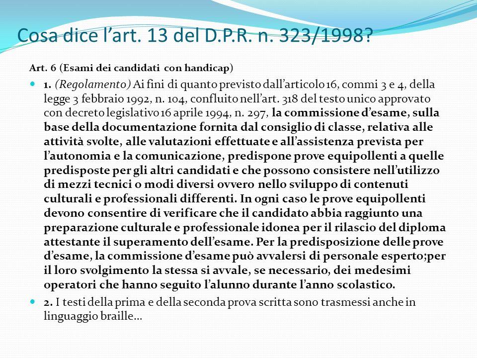 Cosa dice l'art. 13 del D.P.R. n. 323/1998