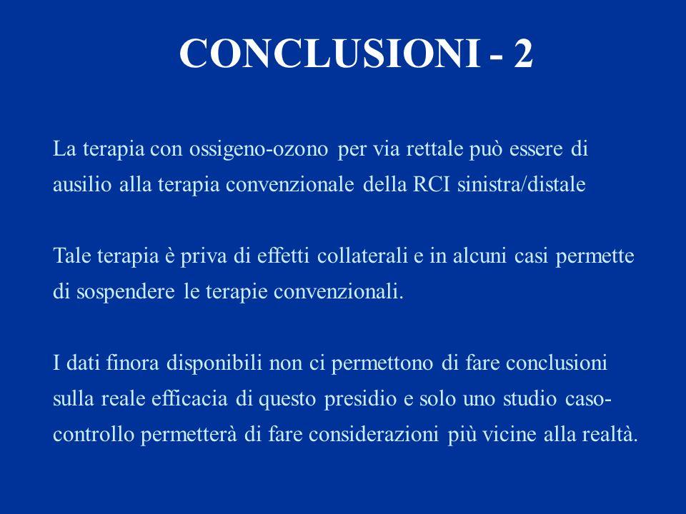 CONCLUSIONI - 2 La terapia con ossigeno-ozono per via rettale può essere di ausilio alla terapia convenzionale della RCI sinistra/distale.