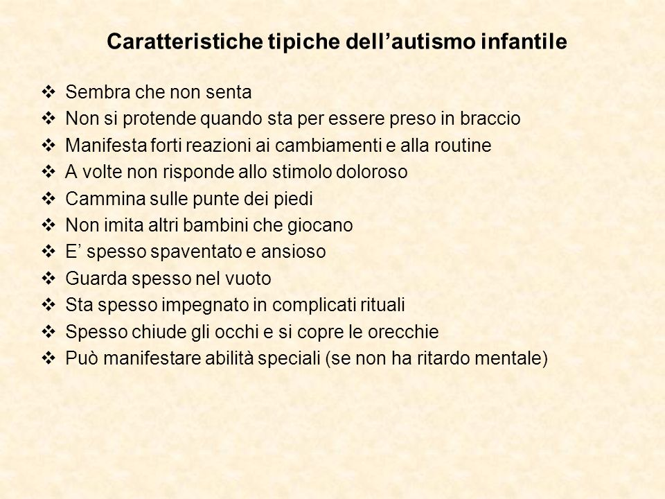Caratteristiche tipiche dell'autismo infantile