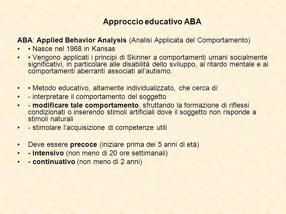 ABA: Applied Behavior Analysis (Analisi Applicata del Comportamento)