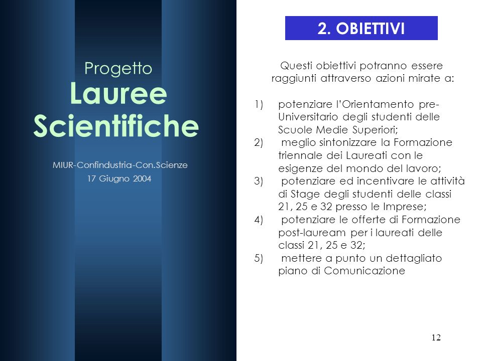 Lauree Scientifiche Progetto 2. OBIETTIVI