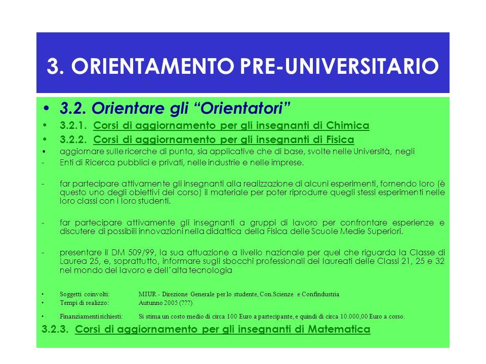 3. ORIENTAMENTO PRE-UNIVERSITARIO