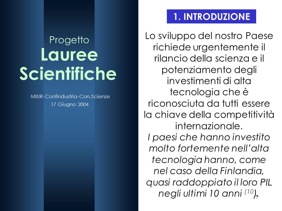 Lauree Scientifiche Progetto 1. INTRODUZIONE