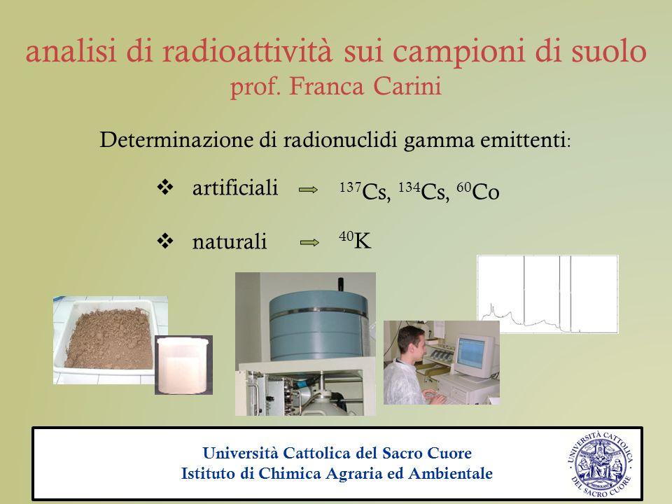 analisi di radioattività sui campioni di suolo prof. Franca Carini