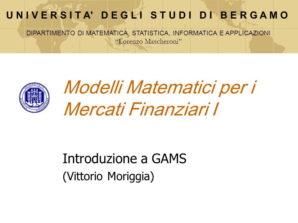 Modelli Matematici per i Mercati Finanziari I