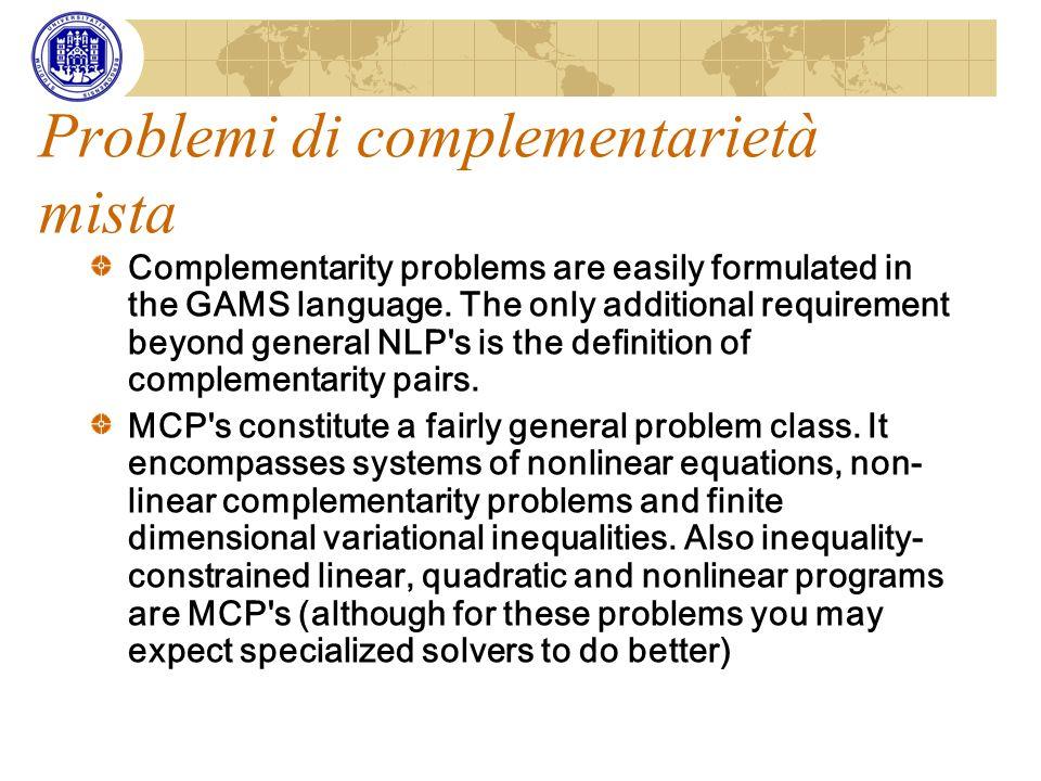 Problemi di complementarietà mista