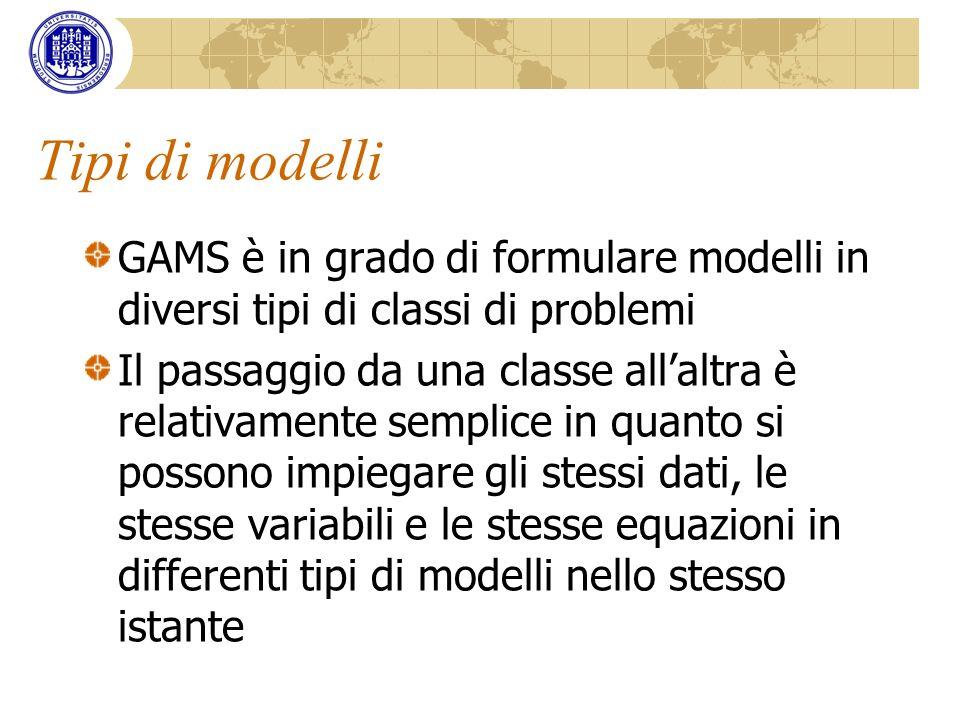 Tipi di modelli GAMS è in grado di formulare modelli in diversi tipi di classi di problemi.