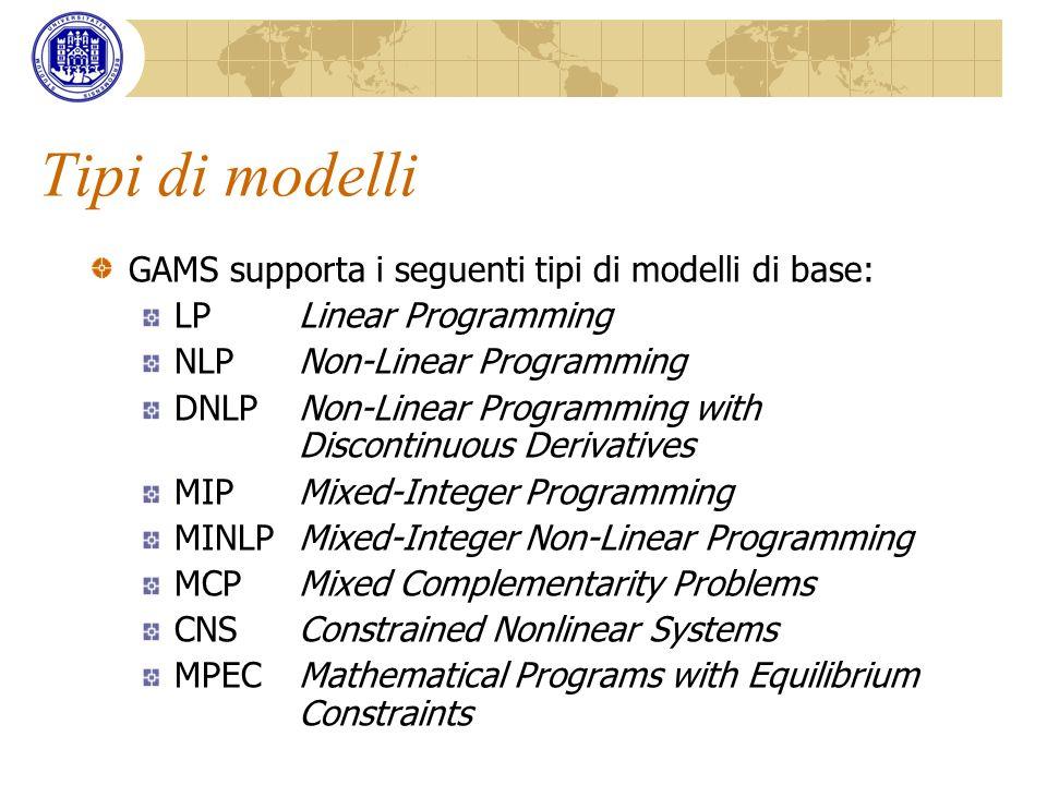 Tipi di modelli GAMS supporta i seguenti tipi di modelli di base: