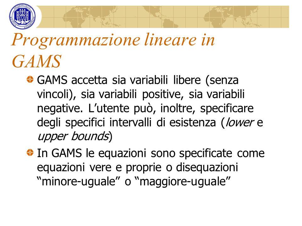 Programmazione lineare in GAMS