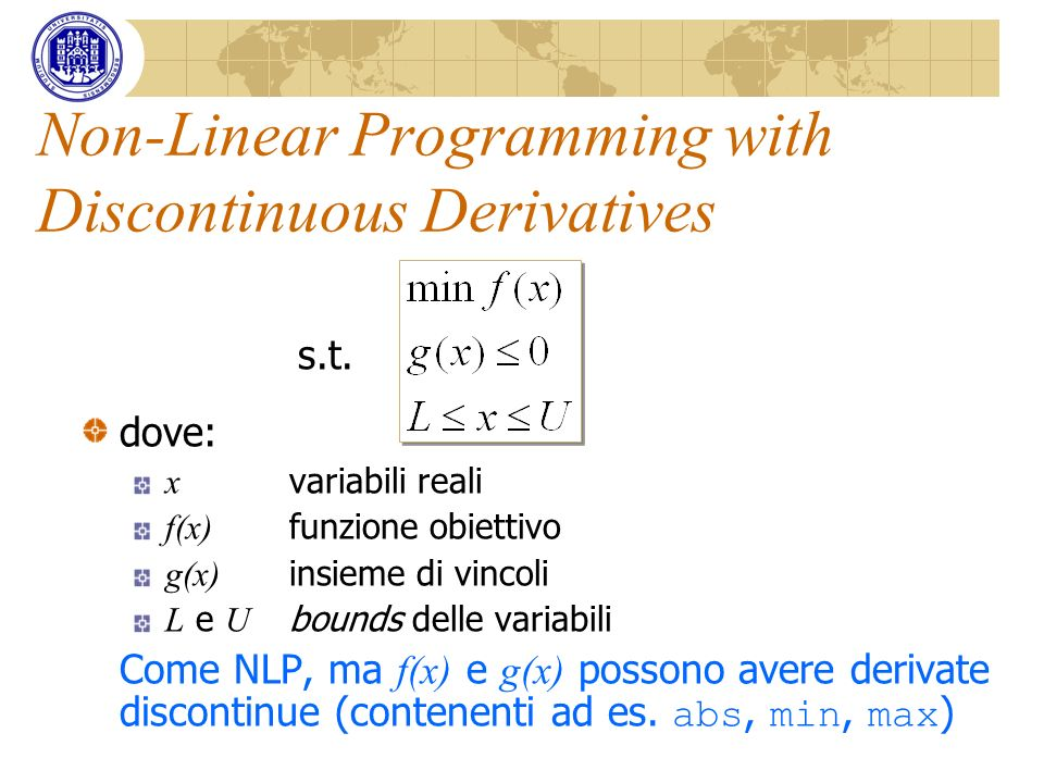 Non-Linear Programming with Discontinuous Derivatives