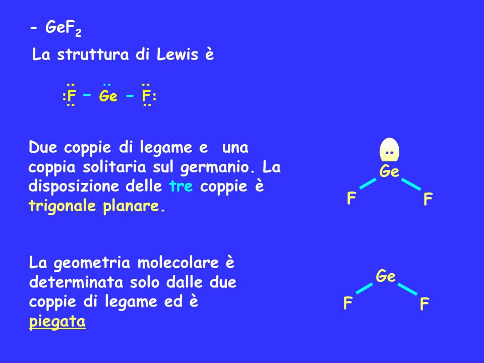 - GeF2 La struttura di Lewis è
