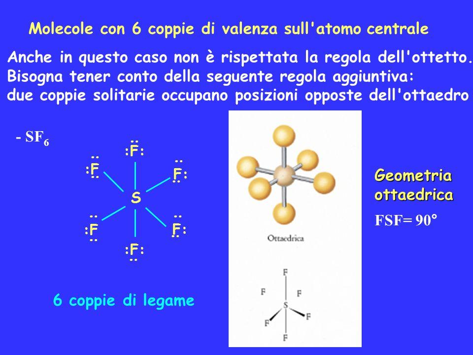 Molecole con 6 coppie di valenza sull atomo centrale