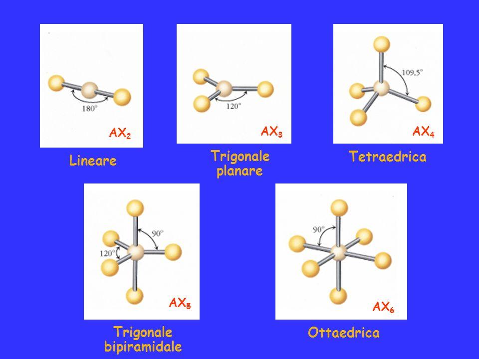 Trigonale Tetraedrica Lineare planare Trigonale Ottaedrica