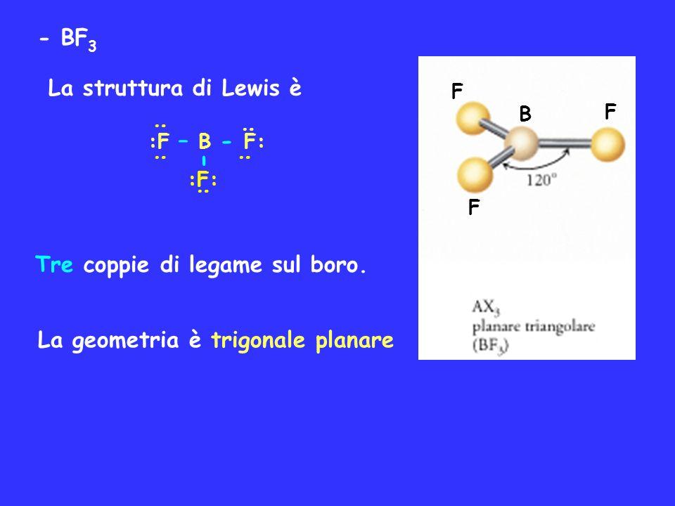 - - BF3 La struttura di Lewis è Tre coppie di legame sul boro.