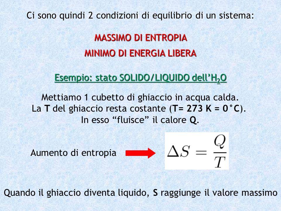 Ci sono quindi 2 condizioni di equilibrio di un sistema: