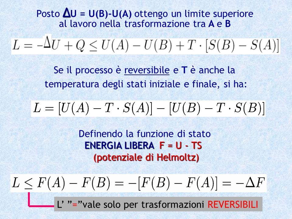 Posto ∆U = U(B)-U(A) ottengo un limite superiore