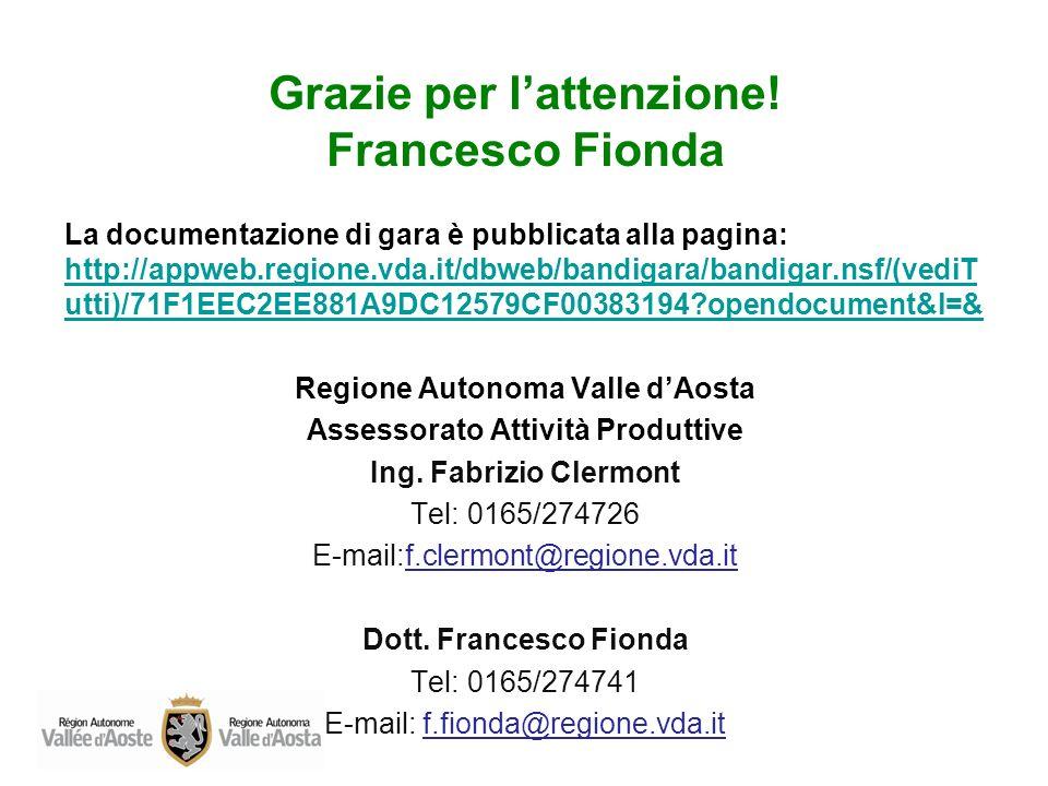 Grazie per l'attenzione! Francesco Fionda